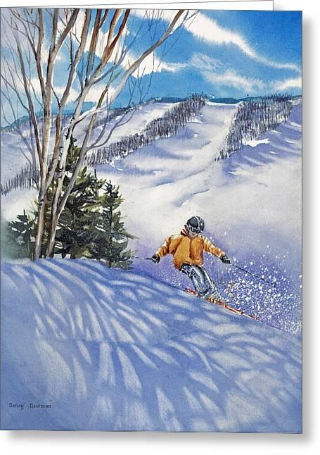 Downhill-rhythm Greeting Card by Nancy Newman