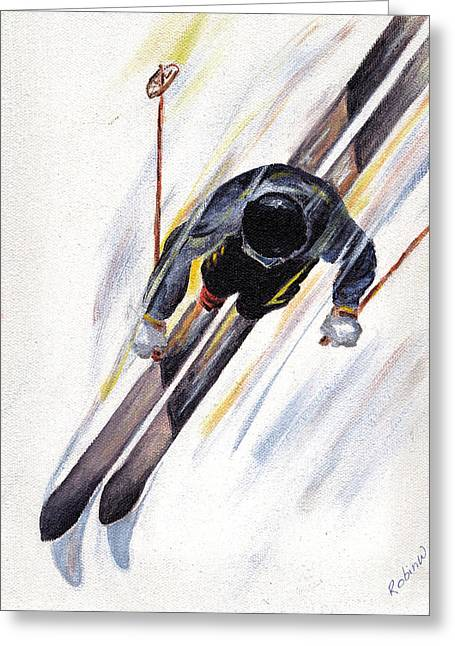 Downhill Skier Greeting Card by Robin Wiesneth