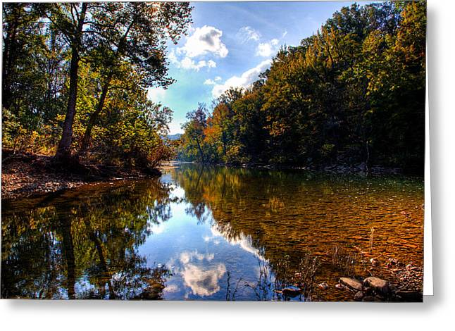 Greeting Card featuring the photograph Downriver At Ozark Campground by Michael Dougherty