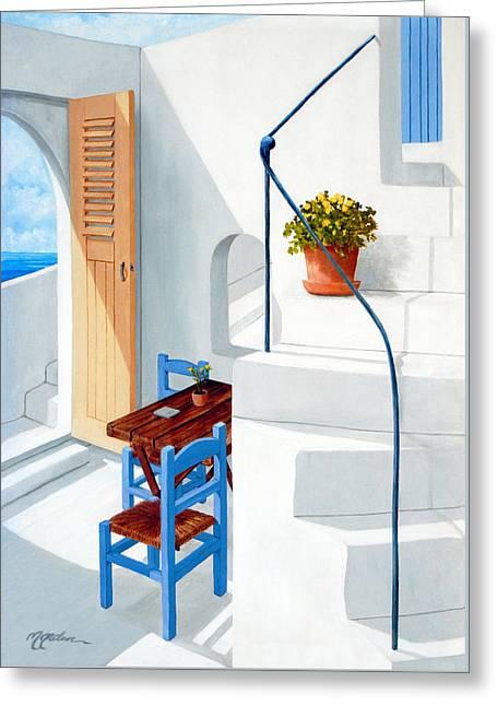 Downstairs In Santorini - Prints Of Original Oil Painting Greeting Card
