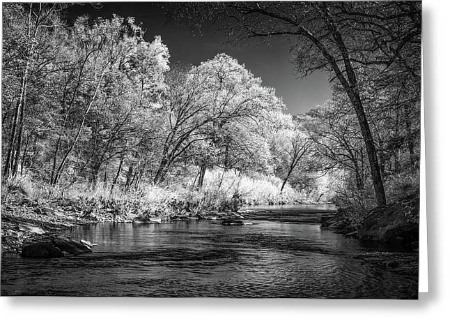 Greeting Card featuring the photograph Downstream At Natural Dam by James Barber