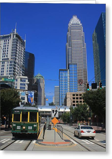 Downtown Charlotte Trolley 1  Greeting Card