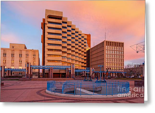 Downtown Albuquerque Harry E. Kinney Civic Plaza And Bernalillo County Clerk Office - New Mexico Greeting Card by Silvio Ligutti