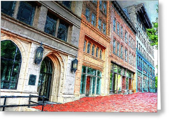 Downtown Asheville City Street Scene II Painted Greeting Card