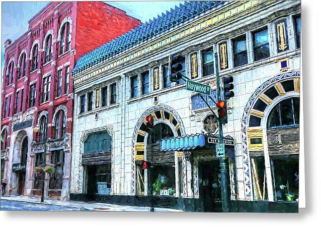 Downtown Asheville City Street Scene Painted  Greeting Card