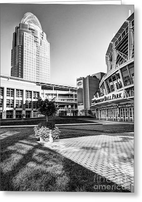 Downtown At The Ballpark 2 Bw Greeting Card by Mel Steinhauer