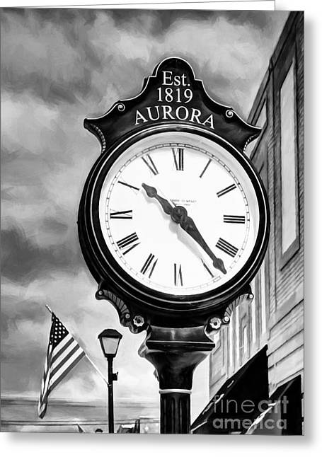 Downtown Aurora Indiana Black And White Greeting Card