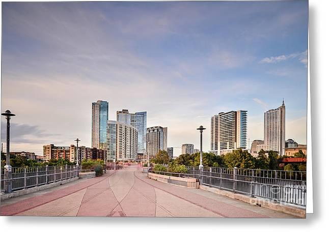 Downtown Austin Skyline From Lamar Street Pedestrian Bridge - Texas Hill Country Greeting Card
