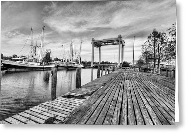 Downtown Bayou La Batre Black And White Greeting Card