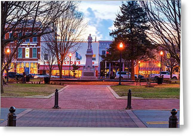 Downtown Bentonville Arkansas Town Square Panoramic  Greeting Card by Gregory Ballos