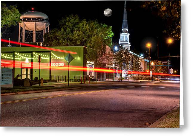 Downtown Bentonville Under A Full Moon Greeting Card by Gregory Ballos