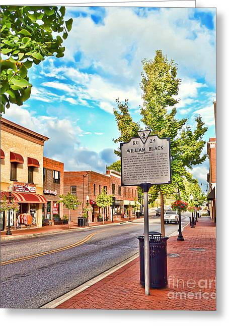 Downtown Blacksburg With Historical Marker Greeting Card