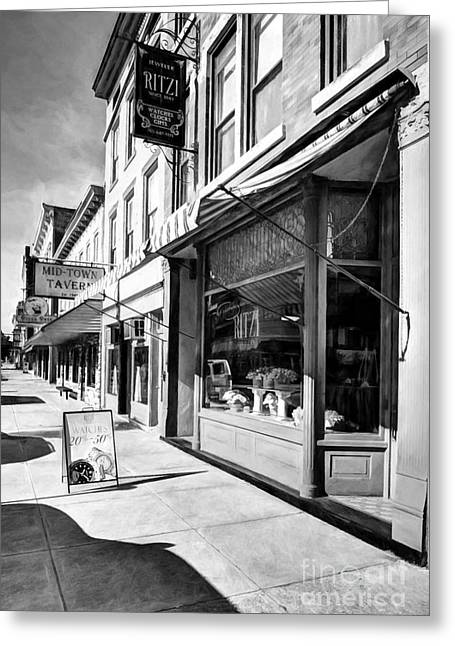 Downtown Brookville Indiana # 2 Black And White Greeting Card by Mel Steinhauer