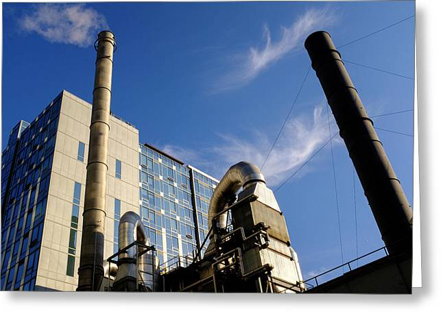 Downtown Buildings And Factory In Seattle Washington Greeting Card