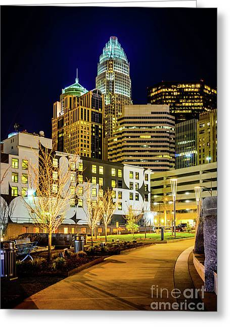 Downtown Charlotte Bearden Park At Night Greeting Card by Paul Velgos