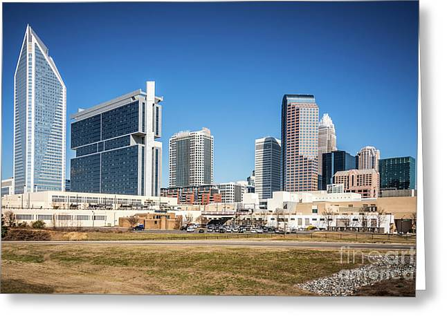 Downtown Charlotte Skyline Skyscrapers Greeting Card by Paul Velgos