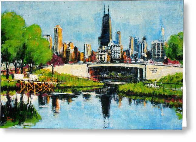 Downtown Chicago From Lincoln Park Greeting Card