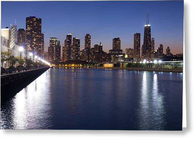 Downtown Chicago Skylinr From Navy Pier Greeting Card
