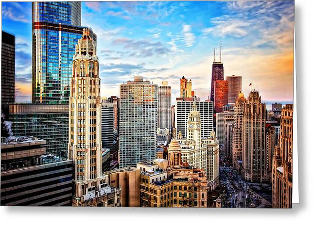Downtown Chicago Sunset Greeting Card by Jennifer Rondinelli Reilly - Fine Art Photography