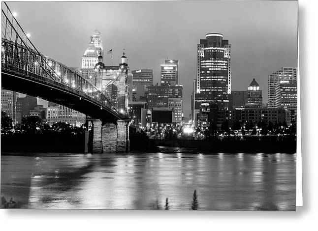Greeting Card featuring the photograph Downtown Cincinnati City Skyline - Black And White by Gregory Ballos