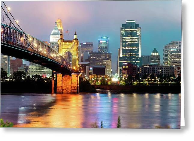 Greeting Card featuring the photograph Downtown Cincinnati City Skyline - Color by Gregory Ballos