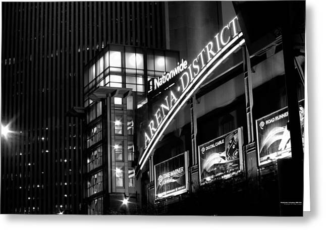 Greeting Card featuring the photograph Downtown Columbus Bw1734 by Brian Gryphon
