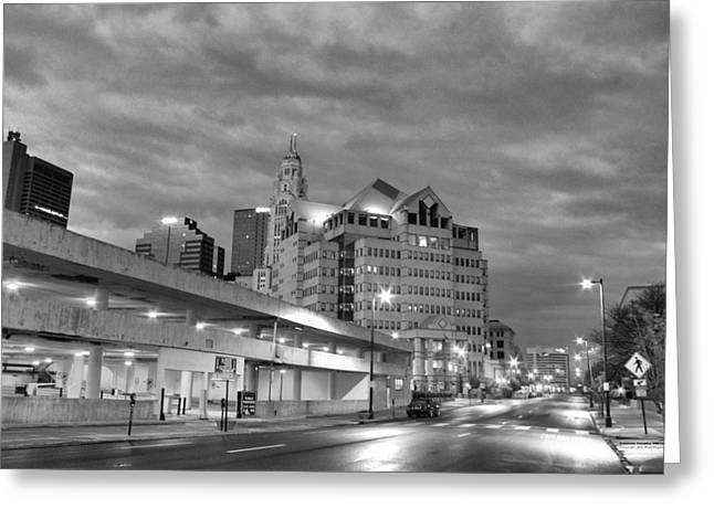Greeting Card featuring the photograph Downtown Columbus Bw5145 by Brian Gryphon