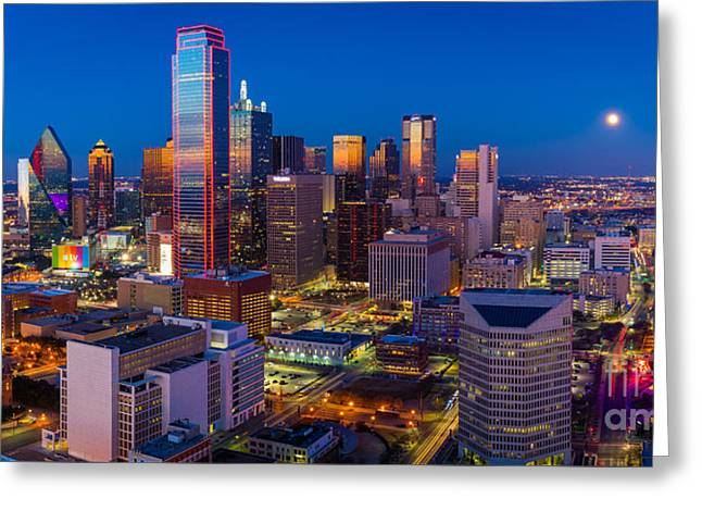 Downtown Dallas Panorama Greeting Card by Inge Johnsson