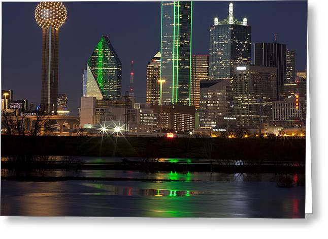 Downtown Dallas, Texas At Night Greeting Card by Anthony Totah
