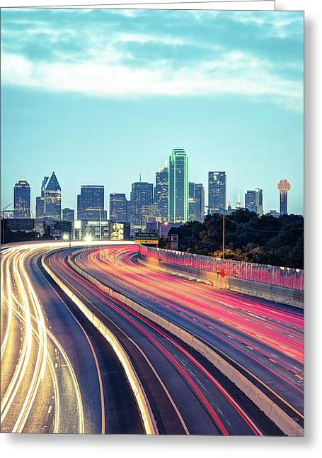 Greeting Card featuring the photograph Downtown Dallas Texas Skyline Drive by Gregory Ballos