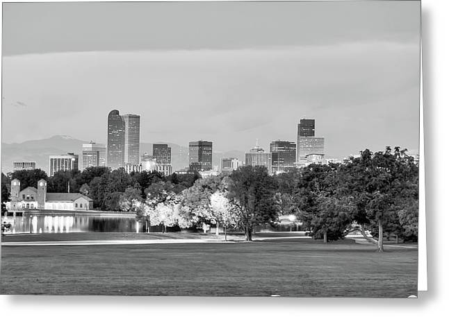 Downtown Denver Skyline - Black And White Greeting Card