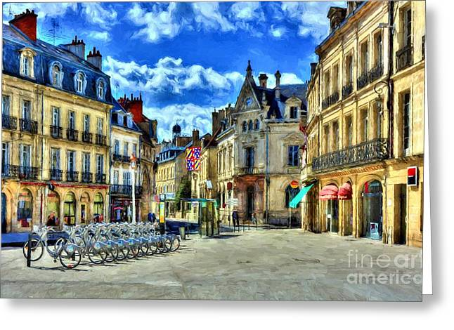 Downtown Dijon Greeting Card by Mel Steinhauer