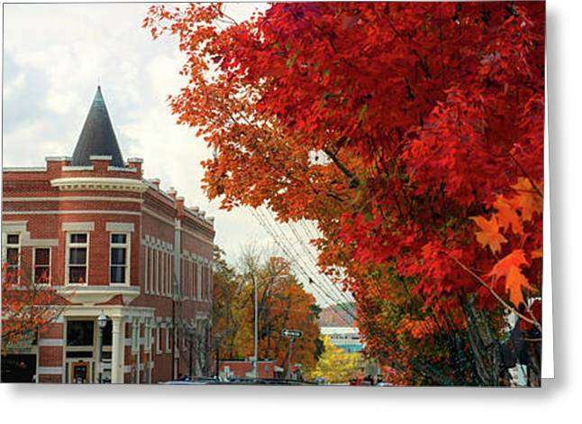 Downtown Fayetteville Arkansas Autumn Skyline Panorama Greeting Card