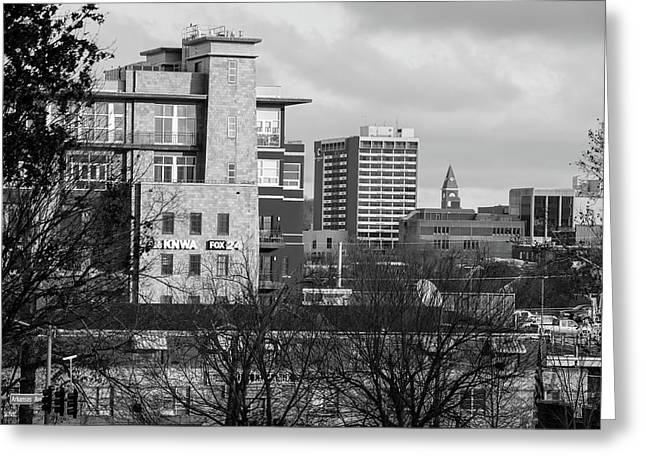 Downtown Fayetteville Arkansas Skyline - Dickson Street - Black And White Edition. Greeting Card by Gregory Ballos