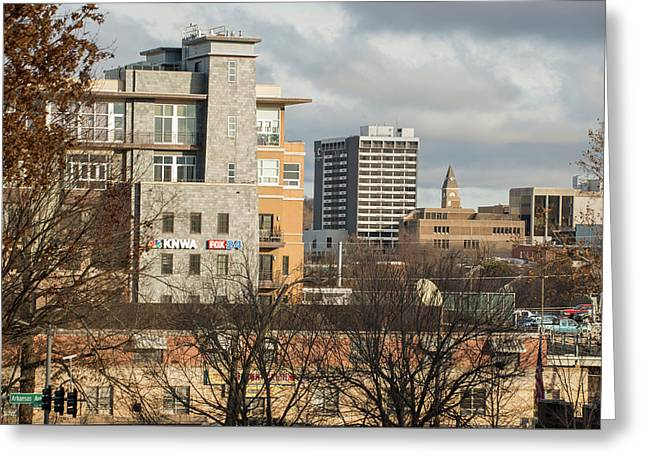 Downtown Fayetteville Arkansas Skyline - Dickson Street Greeting Card by Gregory Ballos