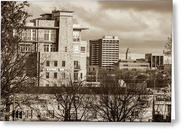 Downtown Fayetteville Arkansas Skyline - Dickson Street - Sepia Edition. Greeting Card by Gregory Ballos