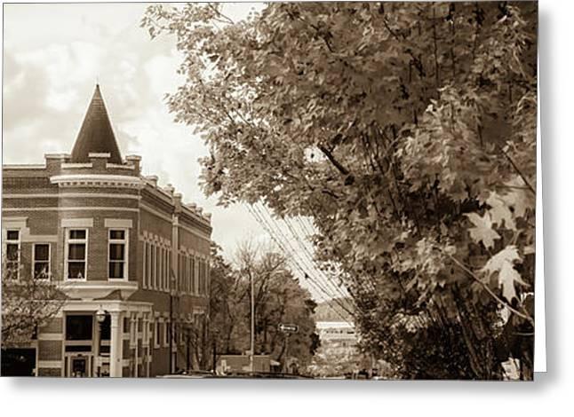 Downtown Fayetteville Arkansas Skyline Panorama - Sepia Greeting Card