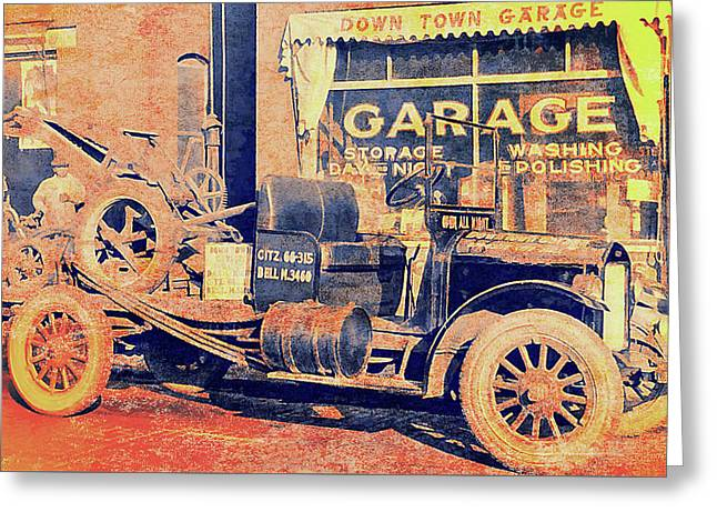 Downtown Garage And Tow Truck Greeting Card