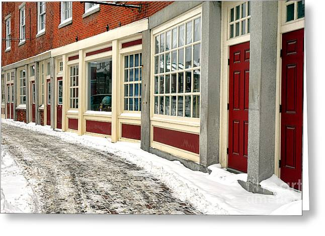 Downtown Gardiner Winter Greeting Card by Olivier Le Queinec