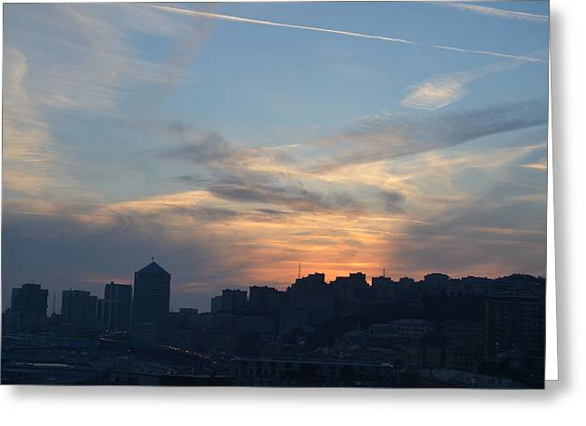 Downtown Genoa At Sunset Greeting Card