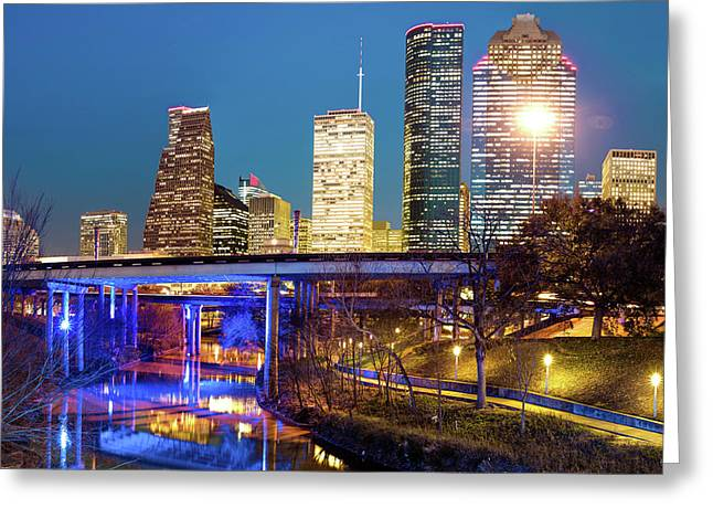 Downtown Houston City Skyline At Night On The Buffalo Bayou Greeting Card by Gregory Ballos