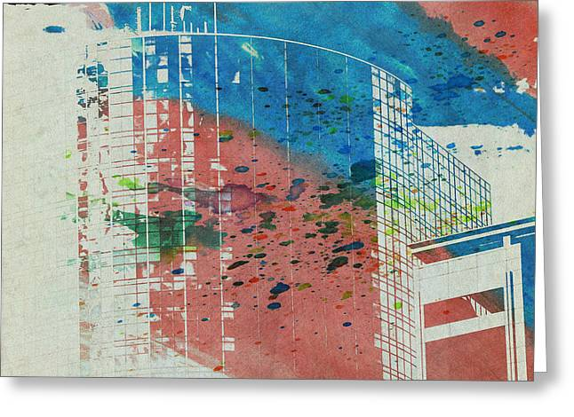 Downtown Houston Watercolor 1 Greeting Card by Bartz Johnson