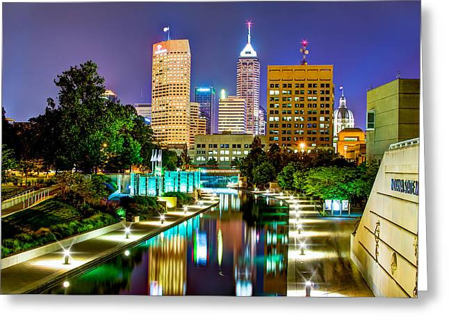 Downtown Indianapolis At Night - Canal Walk Skyline View Greeting Card