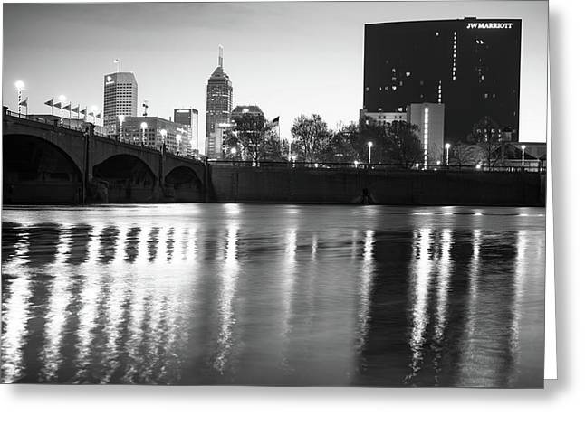 Downtown Indianapolis City Skyline - Black And White Greeting Card by Gregory Ballos