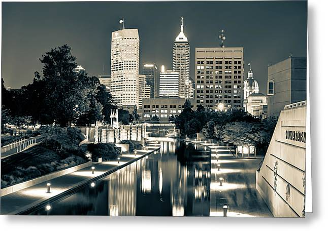 Downtown Indianapolis Indiana Skyline In Sepia Greeting Card