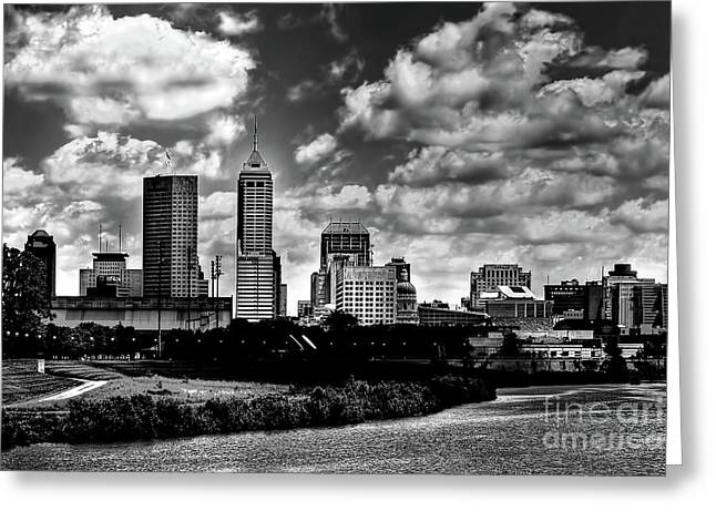 Downtown Indianapolis Skyline Black And White Greeting Card