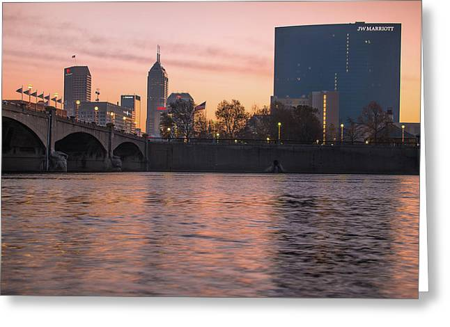 Downtown Indianapolis Skyline Sunrise On The Water Greeting Card