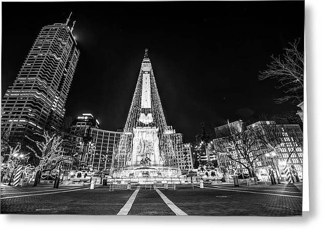 Downtown Indy Circle Of Lights - Monument Circle - Black And White - Indianapolis Greeting Card by Gregory Ballos