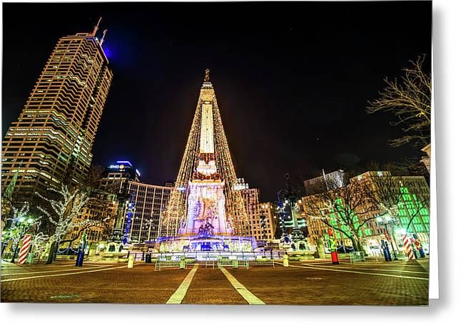 Downtown Indy Circle Of Lights - Monument Circle - Indianapolis Greeting Card by Gregory Ballos