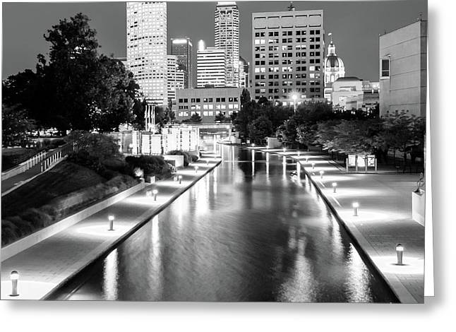 Downtown Indy Skyline - Indianapolis Indiana Black-white 1x1 Greeting Card